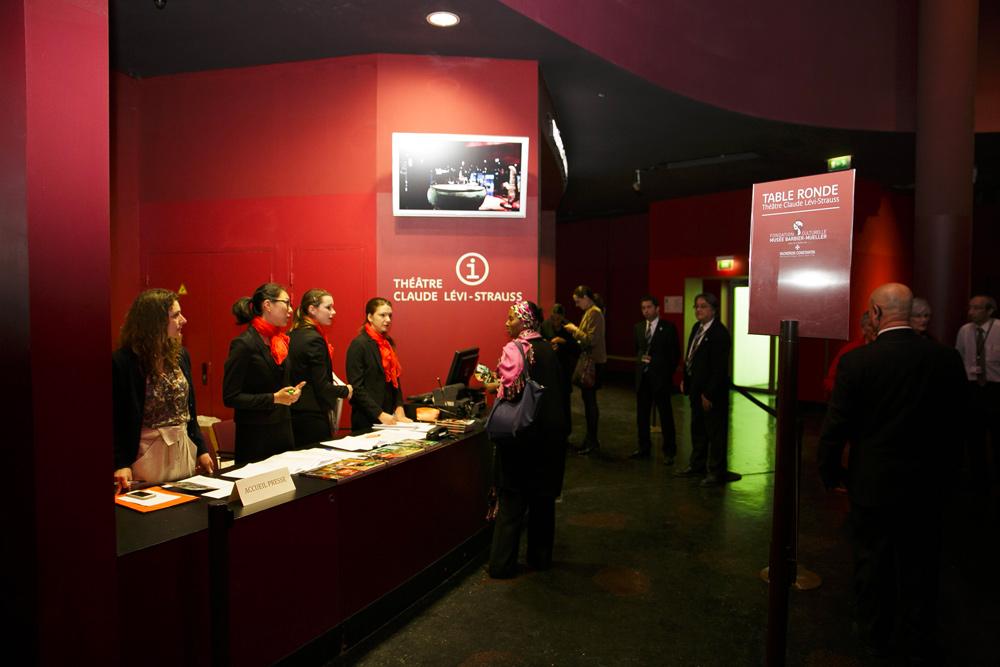 accueil des invités, théâtre Claude Lévi-Strauss, musée du quai Branly-Jacques Chirac, Paris.