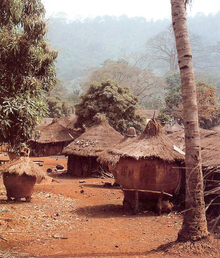 Le village namanlé de Bokassou, un peu perdu dans la vallée entre deux collines, répartit greniers et maisons sur plus d'un kilomètre. Photo Monique Barbier-Mueller, 1988.