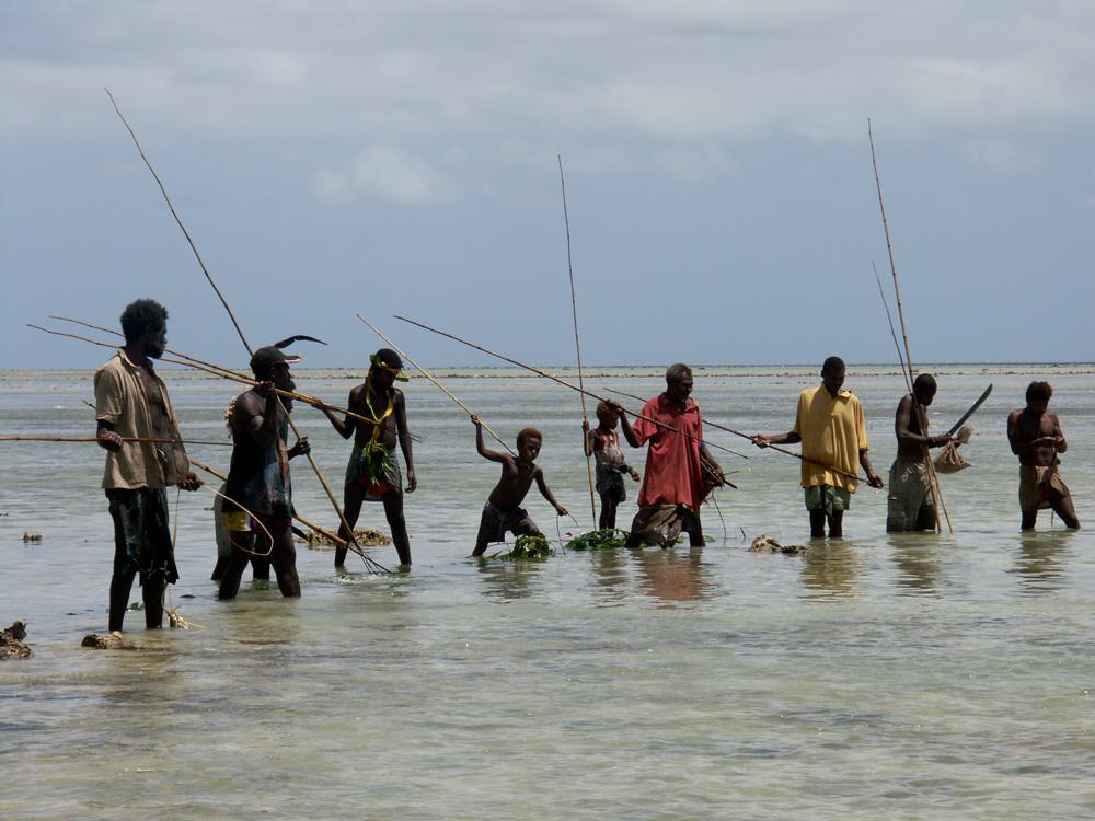 Pêche cérémonielle dans la lagune de Banakin en vue d'un banquet rituel. Village de Banakin. Photo Antje S. Denner, 2004.
