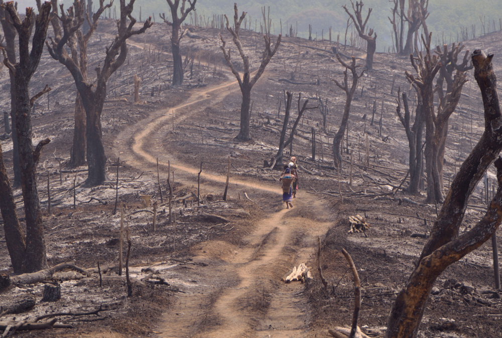 """Villageoises de Sadolpara quittant les champs après le rite du """"a si roka"""". Photo Timour Claquin Chambugong, 2012."""